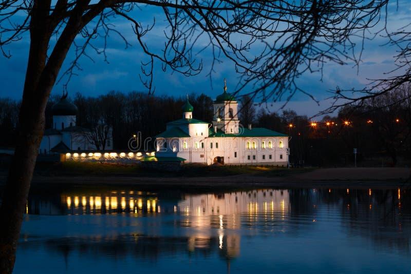 Mirozhsky monastery in Pskov, Russia stock photo