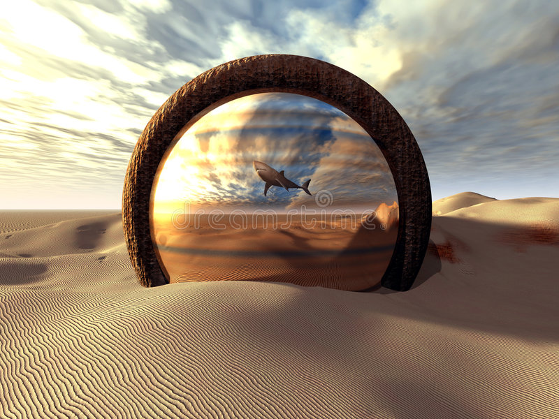 The Mirror. Strange, surreal fantasy scenery. A shark 'swimming' in the desert, reflected by a strange mirror/portal
