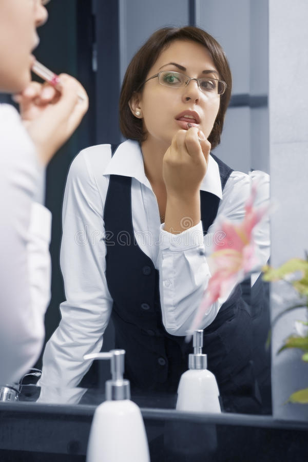 Download In mirror stock photo. Image of people, paint, face, businesswoman - 12507000