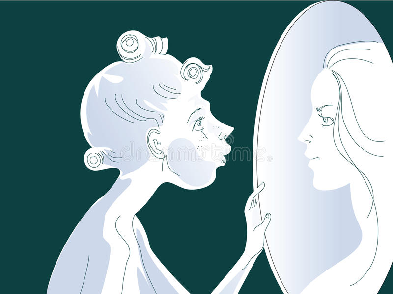 Mirror. The timid girl sees in a mirror the person such of which dreams