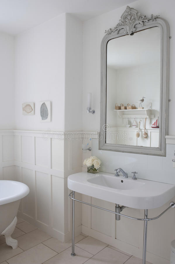 Download Mirror Above Bathroom Sink stock photo. Image of english - 33892766