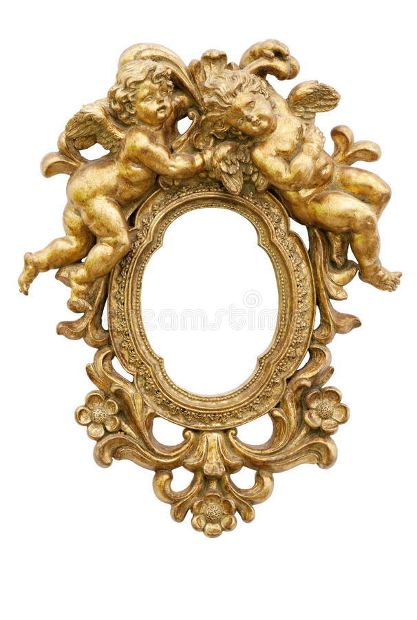 Mirror with angels. Small mirror with angels in gold royalty free stock image