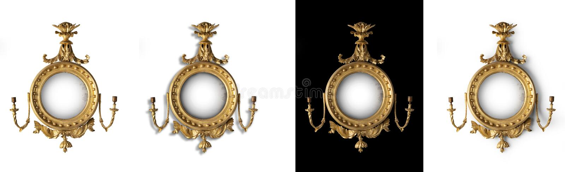 Mirror antique round hall mirror stock image