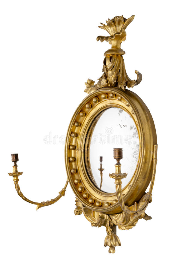 Mirror antique round hall mirror with old mirror glass royalty free stock image