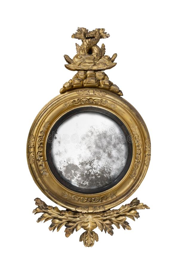 Mirror antique round hall mirror with old mirror glass stock image
