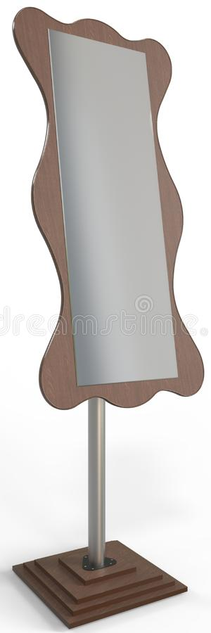 Dress Mirror Or Free Standing Cheval Mirror. This mirror attracts the eye with its exquisite design, but not only beauty is inherent in this model, but also high royalty free illustration