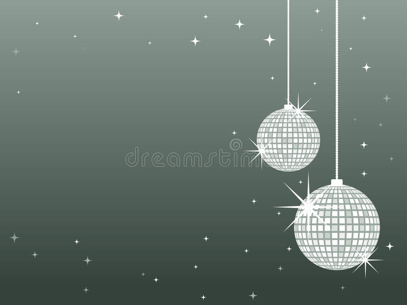 Mirror Ball Christmas Decorations. Dnagling glitter ball decorations against a grey background royalty free illustration
