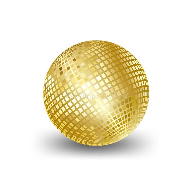 Mirror ball gold vector,elements for Artwork greeting gift box holiday background cards party White background stock illustration