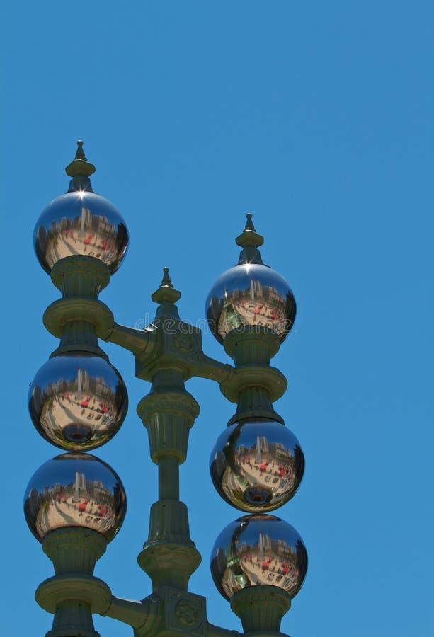 Download Mirror Ball Lamp Posts stock photo. Image of globe, metal - 14925342
