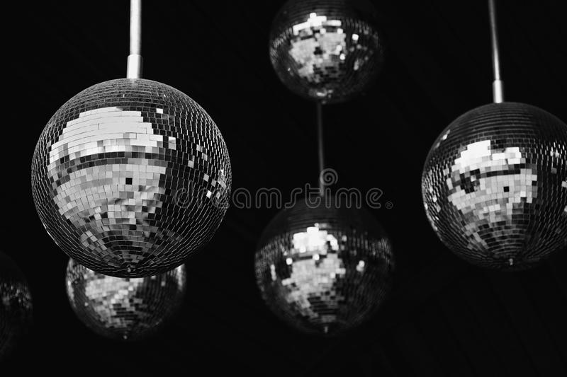 Mirror balls disco party abstract background. Black and white photo. Shallow depth field. Photo stock photography