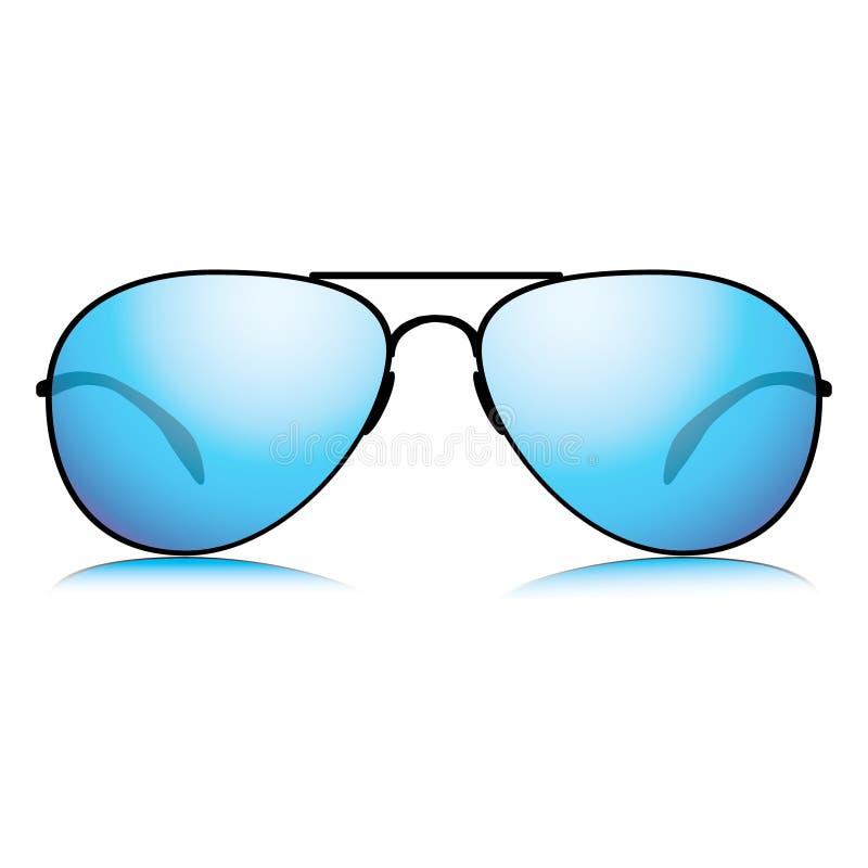 Mirror blue sunglasses icon stock illustration