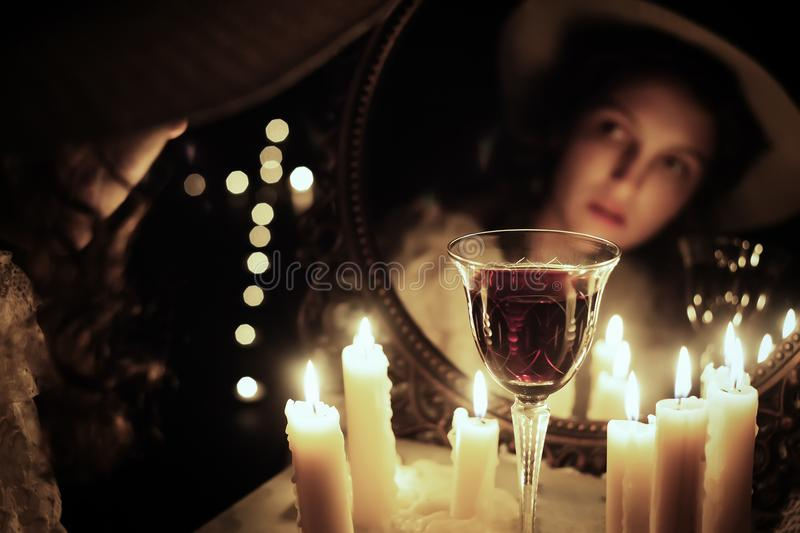 Face candle wine stock photography