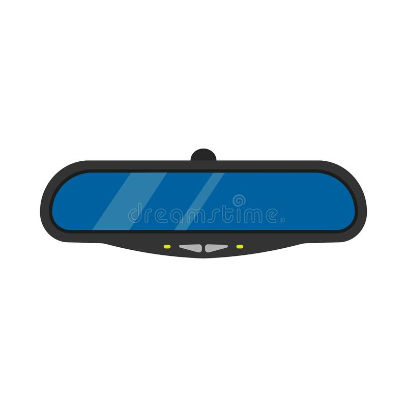 Mirror car automobile drive vector illustration. Rear view auto transport isolated behind glass road. Inside frame icon royalty free illustration