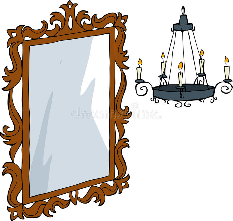 Mirror and chandelier. Mirror and a chandelier in baroque style vector stock illustration