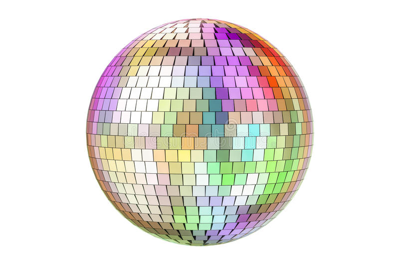 Mirror disco ball, 3D rendering royalty free illustration