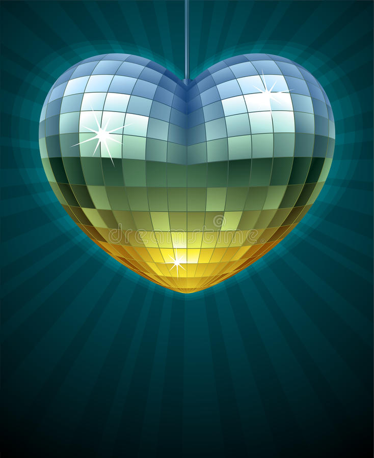 Download Mirror Disco Ball In The Shape Of Heart Stock Vector - Image: 28801439