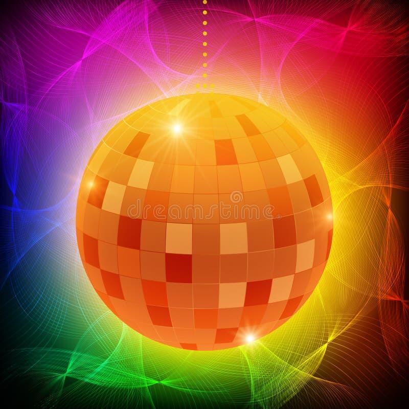 Mirror disco ball on shining waves background. Vector illustration royalty free illustration