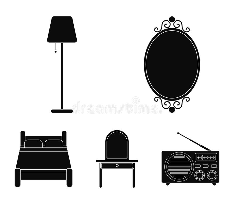 Mirror, drawer, table lamp, bed.Furniture set collection icons in black style vector symbol stock illustration web. Mirror, drawer, table lamp, bed.Furniture stock illustration