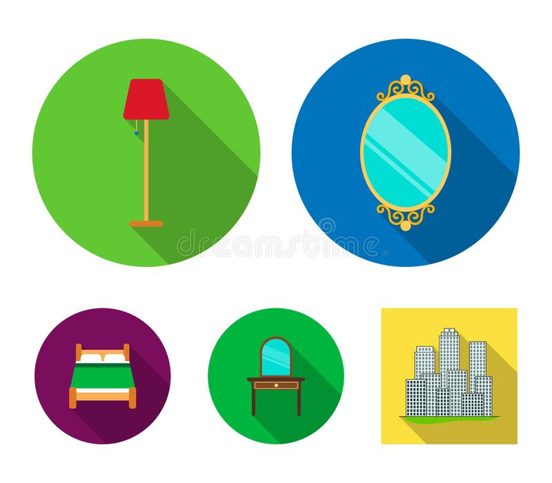Mirror, drawer, table lamp, bed.Furniture set collection icons in flat style vector symbol stock illustration web. Mirror, drawer, table lamp, bed.Furniture set vector illustration
