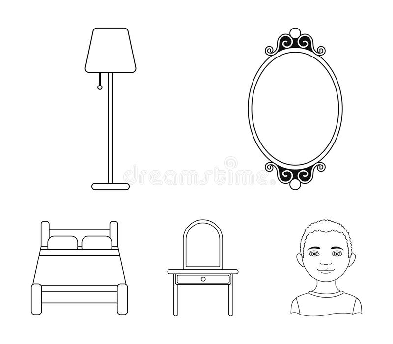 Mirror, drawer, table lamp, bed.Furniture set collection icons in outline style vector symbol stock illustration web. Mirror, drawer, table lamp, bed.Furniture stock illustration