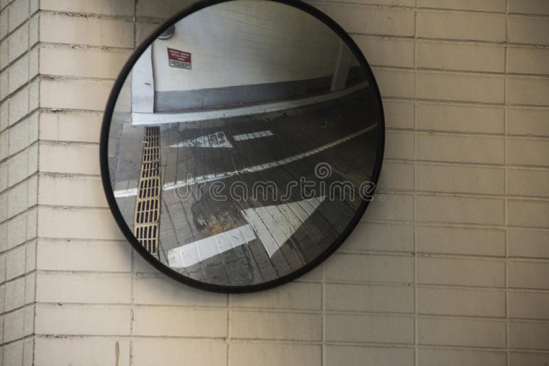 Mirror at the exit of a parking garage in Cincinnati Ohio royalty free stock images