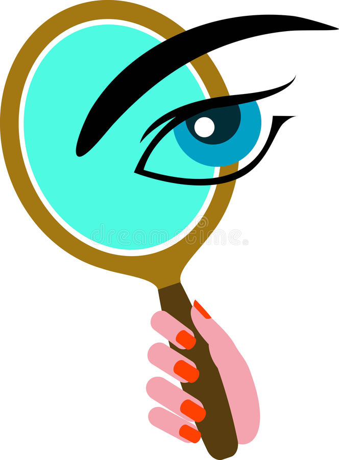 Mirror with eye vector illustration