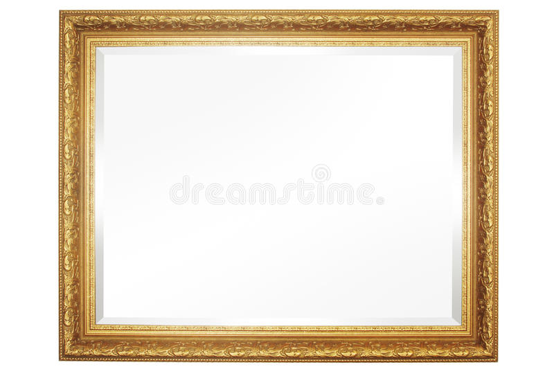 Mirror With Frame. Front view mirror with gold frame royalty free stock photo