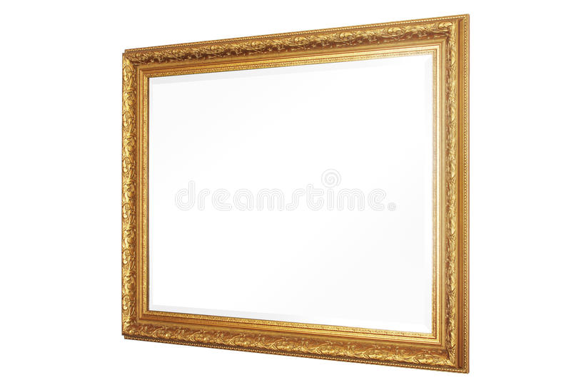 Mirror and Frame. 30 degree side view mirror with gold frame royalty free stock images