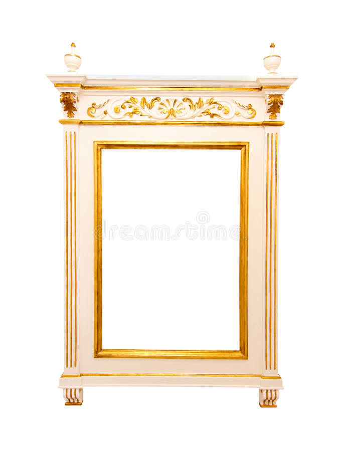Mirror frame. Empty rococo style mirror frame isolated with clipping path included stock images