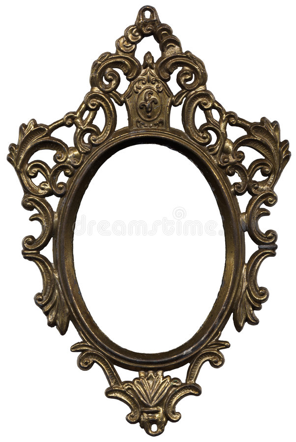 Mirror frame. Old mirror frame, isolated on white background stock image