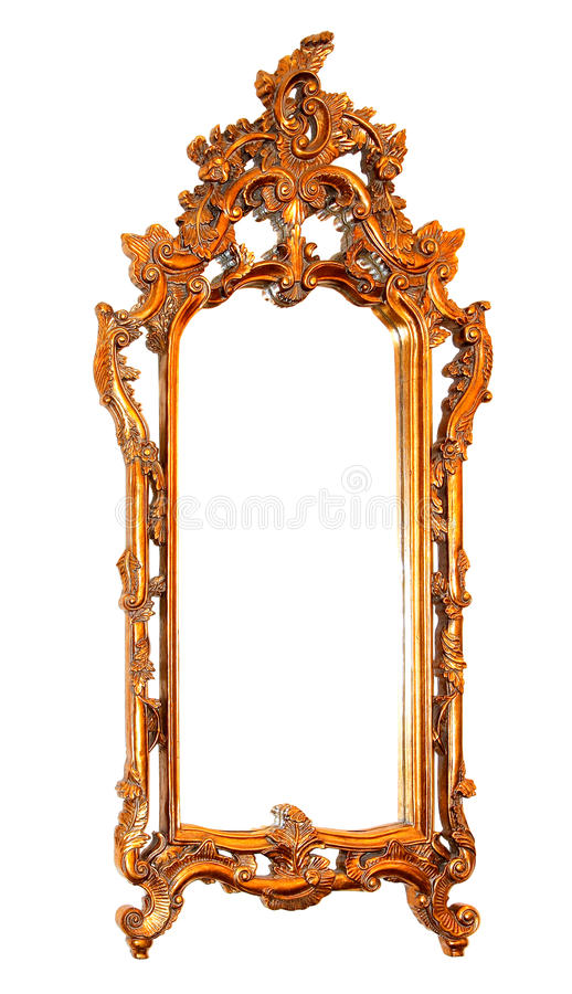 Mirror frame. Golden mirror frame isolated included clipping path stock image