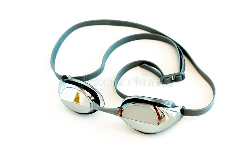 Mirror glasses for swimming. sports equipment for swimmers in the pool.  stock photo