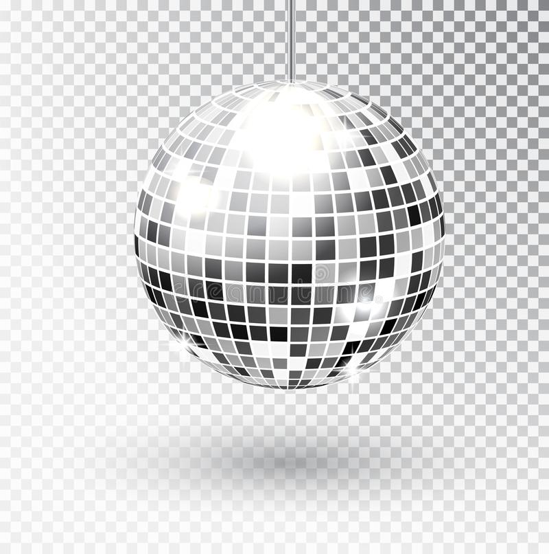 Mirror glitter disco ball vector illustration. Night Club party light element. Bright mirror silver ball design for vector illustration
