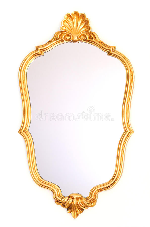 Mirror gold frame. On a white background royalty free stock images