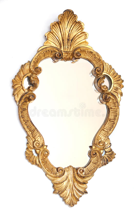 Mirror gold frame. On a white background royalty free stock photos