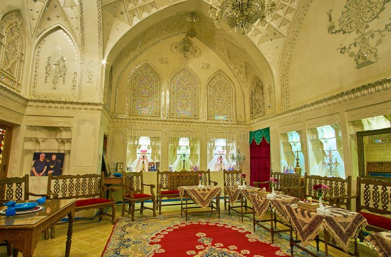 The mirror hall of Mahinestan Raheb Historical House, Kashan, Iran stock images
