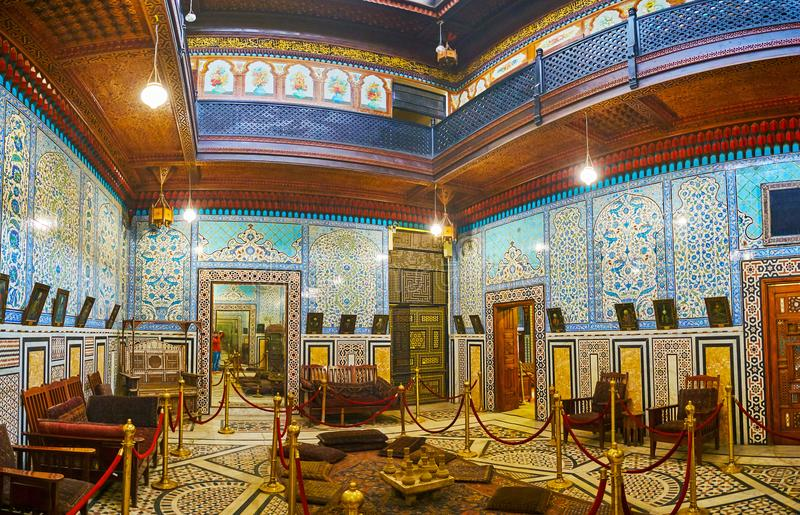 The Mirror Hall of Manial Palace, Cairo, Egypt stock photo