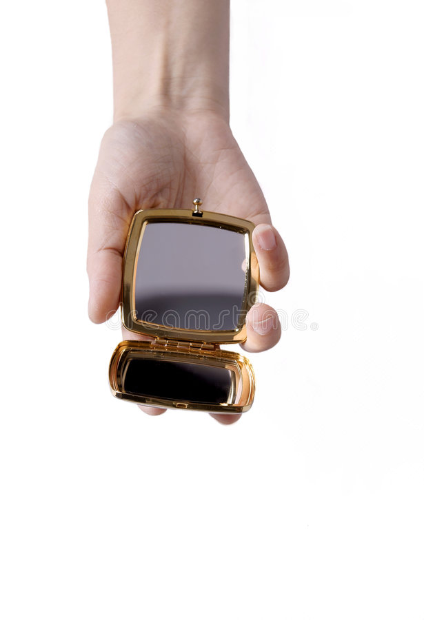 Mirror in hand stock photography