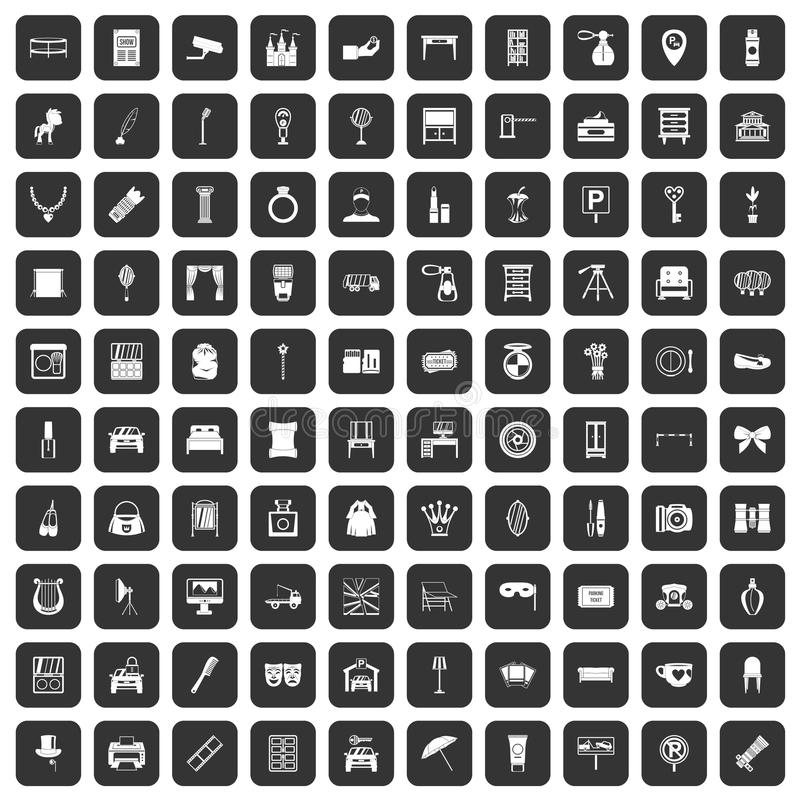 100 mirror icons set black. 100 mirror icons set in black color isolated vector illustration stock illustration