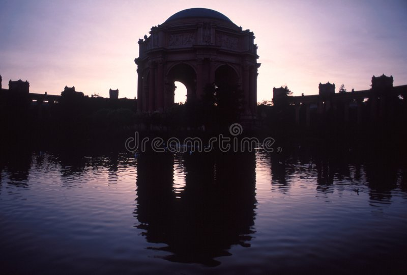 Mirror image of Palace of Fine Arts Theatre in silhouettes royalty free stock photo