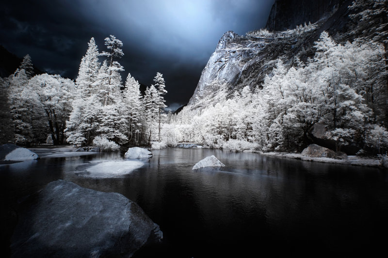 Mirror Lake, Infrared. Yosemite National Park's Mirror Lake, shot in false-color infrared royalty free stock images