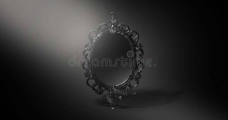 Mirror magical, fortune telling and fulfillment of desires. Magical mirror, on a dark background, divination, fulfillment of desire, magic stock illustration