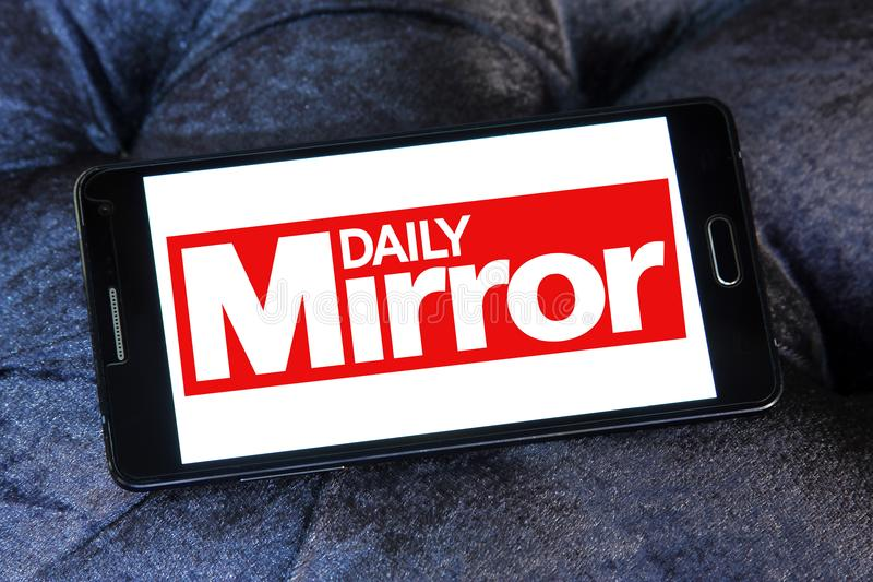 Daily Mirror newspaper logo. Logo of Daily Mirror newspaper on samsung mobile. The Daily Mirror is a British national daily tabloid newspaper founded in 1903 royalty free stock images