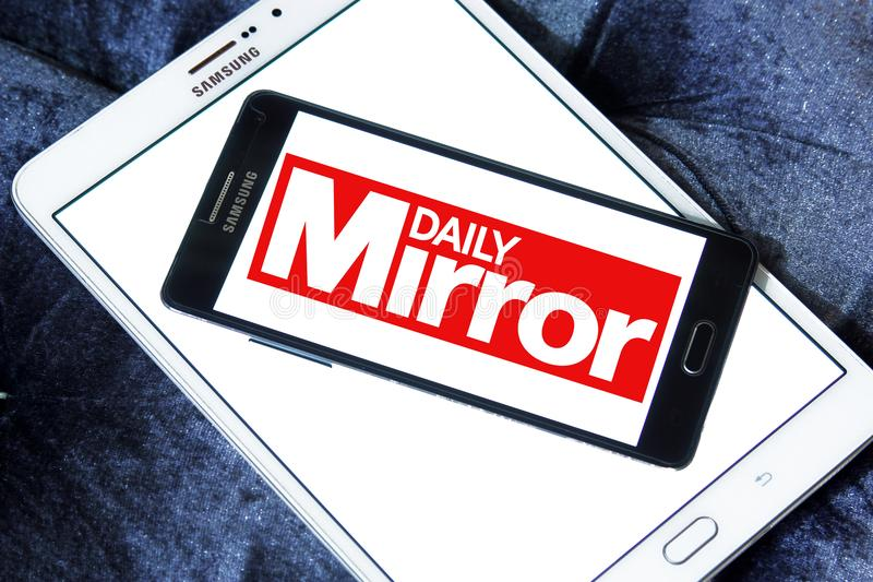 Daily Mirror newspaper logo. Logo of Daily Mirror newspaper on samsung mobile. The Daily Mirror is a British national daily tabloid newspaper founded in 1903 stock image