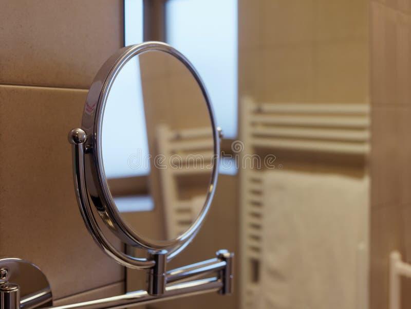 Mirror oval bathroom stock photos