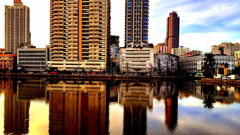 Mirror photography of Urban and high rise buildings. royalty free stock photos