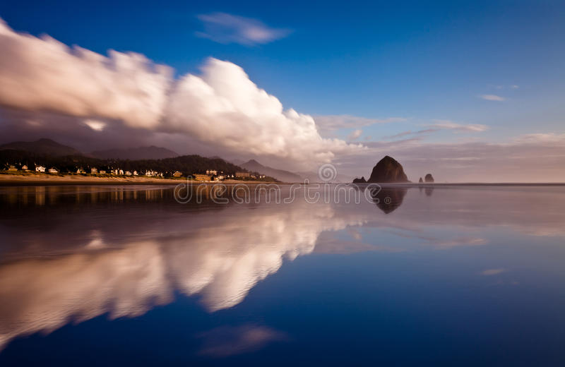 A mirror reflection of a beach