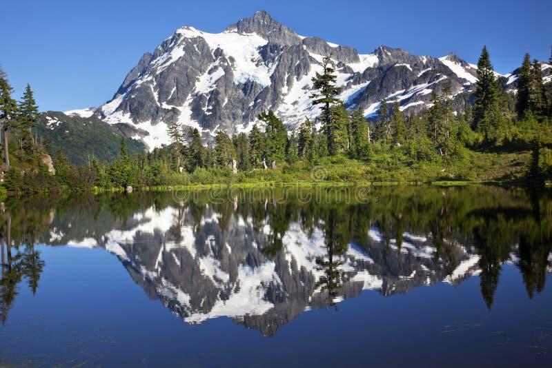 Mirror Reflection Lake Mount Shuksan Washington. Mirror Image Reflection Lake Mount Shuksan Mount Baker Highway Snow Mountain Trees Washington State Pacific stock photos