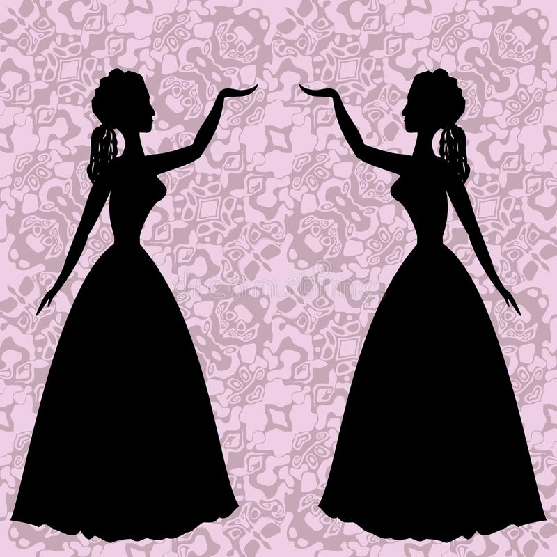 Free Mirror Silhouettes Dancing Women On Ornamental Background In Rococo Style Royalty Free Stock Images - 52436709