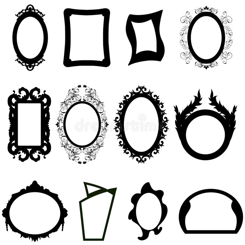 Mirror silhouettes set. Set of different modern and ancient mirrors silhouettes. Vector illustration royalty free illustration